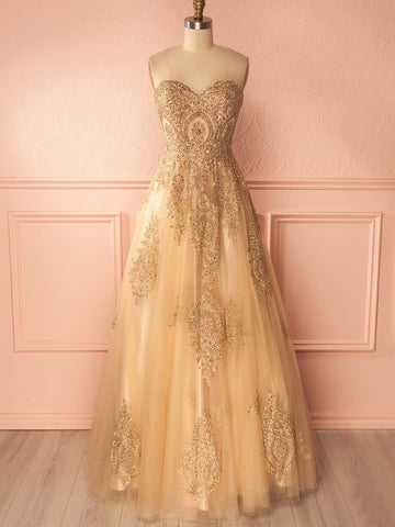 Sparkly Sweetheart Neck Gold Prom Dress A-line Rhinestone Prom Dresses Long Evening Dress AMY1159