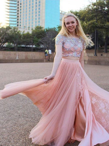 Two Pieces Pink Prom Dress With Beading And Lace Blush Short Sleeve Long Prom Dresses Evening Dress AMY1161