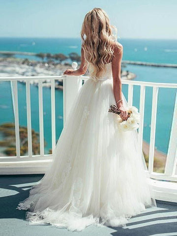 A-line White Beach Wedding Dress Spaghetti Straps Floor Length Cheap Wedding Dress AMY1165