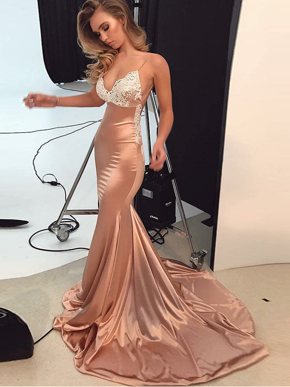 Trumpet/Mermaid Spaghetti Straps Prom Dress Lace Prom Dresses Long Evening Dress AMY1166