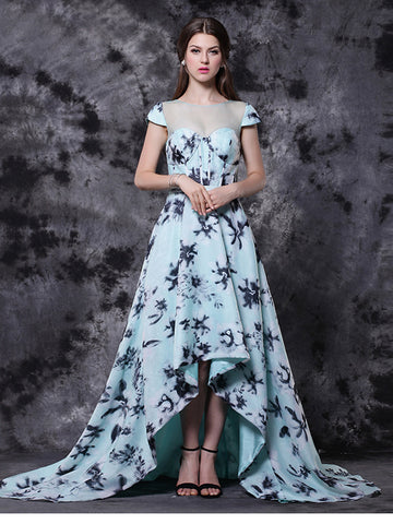 Chic Asymmetrical Prom Dresses Long A-line Scoop Light Sky Blue Print Prom Dress AMY118
