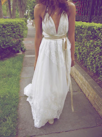 A-line Ivory Beach Wedding Dress Spaghetti Straps Backless Floor Length Cheap Wedding Dress AMY1193