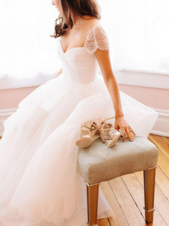 A-line White Beach Wedding Dress Straps Short Sleeve Floor Length Cheap Beading Wedding Dress AMY1194