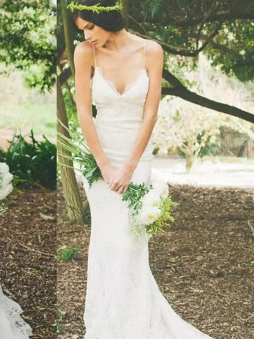 Trumpet/Mermaid Beach Wedding Dress Spaghetti Straps Backless Cheap Lace Wedding Dress AMY1195