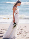 2018 A-line Strapless Long Wedding Dress With Lace Cheap Beach Wedding Dresses AMY1206