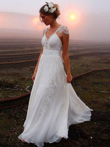 A-line V neck Beach Wedding Dress Floor Length Romantic White Lace Wedding Dresses AMY1209