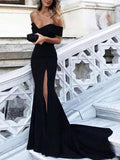 Trumpet/Mermaid Black Prom Dress Off-the-shoulder Cheap Simple Prom Dresses Long Evening Dress AMY1210