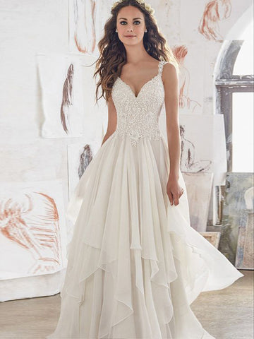 2018 A-line Spaghetti Straps Long Wedding Dress With Lace Cheap Ivory Wedding Dresses AMY1215