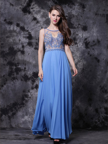 Chic A-line Prom Dresses Ankle-length Modest Cheap Prom Dress With Beading AMY121