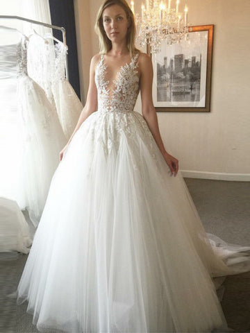 A-line Scoop Lace Gorgeous Wedding Dress Floor Length Modest Bride Gowns|Amyprom