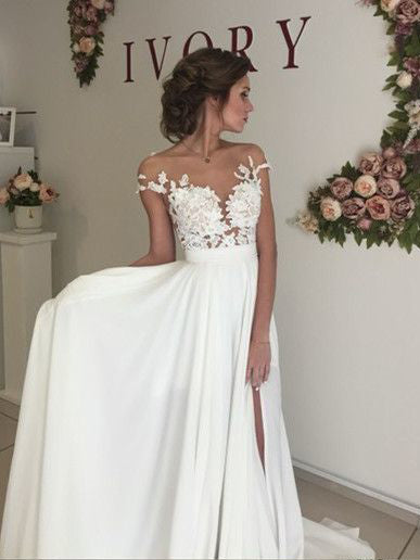 A-line Scoop Iory Modest Wedding Dress With Sleeves AMY1222
