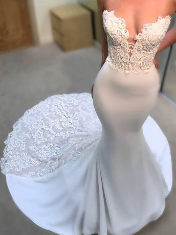 Trumpet/Mermaid Sweetheart Ivory Sweep/Brush Train Wedding Dress With Lace AMY1223