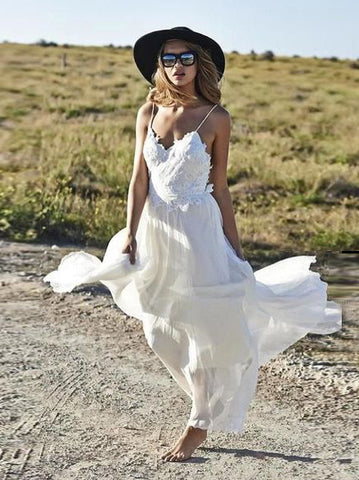 A-line Spaghetti Straps Beach Wedding Dress Floor Length Romantic White Lace Wedding Dresses AMY1224