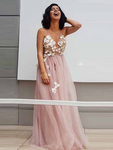 A-line Spaghetti Straps Pink Tulle Prom Dress Beautiful Blush Prom Dresses Long Evening Dress AMY1233