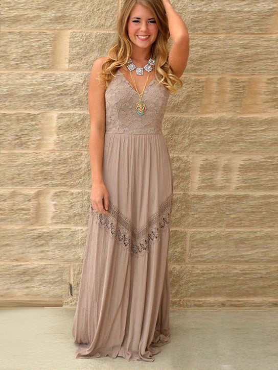 A-line Spaghetti Straps Prom Dress Floor Length Lace Prom Dresses Long Evening Dress AMY1238