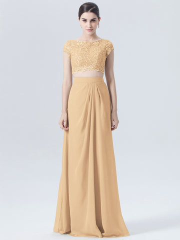 Chic Gold Bridesmaid Dresses Long A-line Scoop Cheap Two Pieces Bridesmaid Dress AMY123