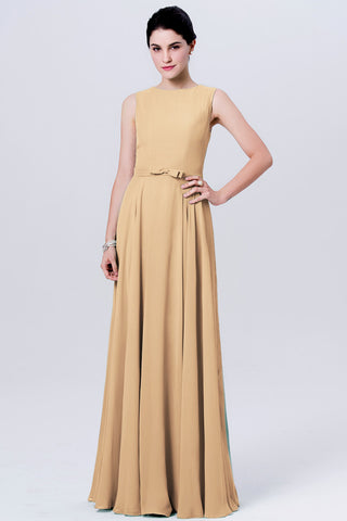 Chic Gold Bridesmaid Dresses Long A-line Scoop Cheap Simple Bridesmaid Dress AMY124