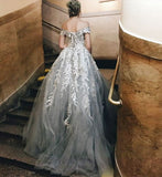 A-line Off-the-shoulder Prom Dress Floor-length Silver Tulle Applique Prom Dresses Long Evening Dress AMY1252