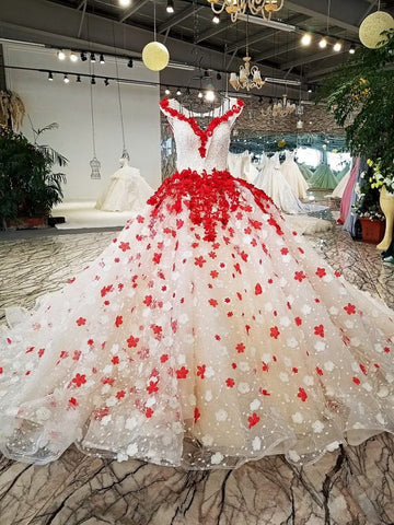 Ball Gowns Off-the-shoulder Red Long Prom Dress Floral Lace Evening Dress Formal Dresses AMY1256
