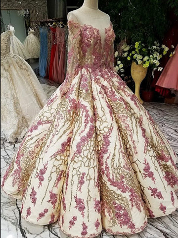2018 Pink Ball Gowns Lace Prom Dress With Long Sleeve Evening Dress AMY1258
