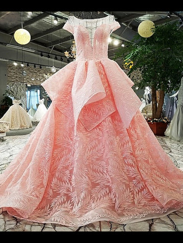 2018 Pink Ball Gowns Lace Prom Dress With Short Sleeve Blush Evening Dress AMY1259
