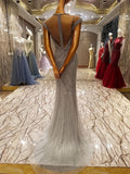 2018 Mermaid Prom Dress Silver Sparkly Beading Prom Dress Evening Dress AMY1260