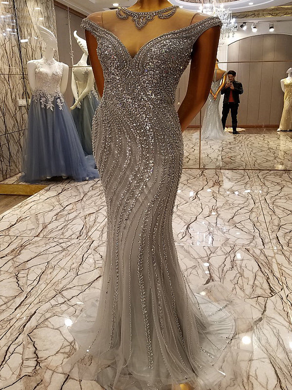 2018 Mermaid Prom Dress Silver Sparkly Beading Prom Dress