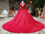 2018 Ball Gown Prom Dresses Red Scoop Tulle Modest Long Prom Dress Evening Dresses AMY1261