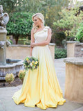 2018 A-line One Shoulder Prom Dress Ombre Cheap Prom Dress Bridesmaid Dress AMY1262