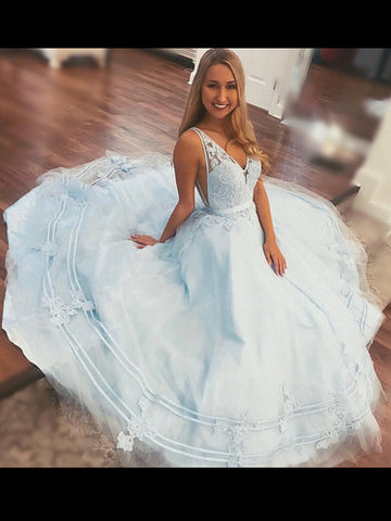 2018 A-line V neck Prom Dress Light Sky Blue Prom Dress With Lace Evening Dress AMY1263
