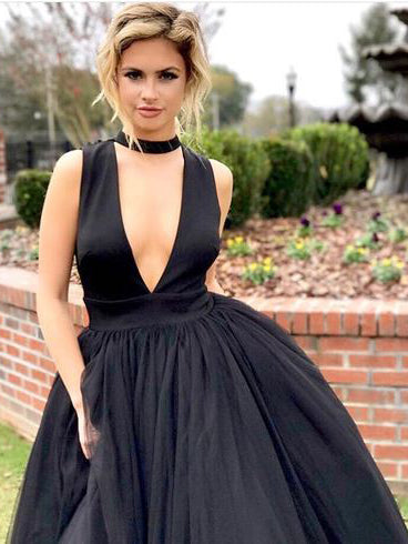 2018 A-line Scoop Prom Dress Cheap Simple Black Tulle Prom Dress Evening Dress AMY1265