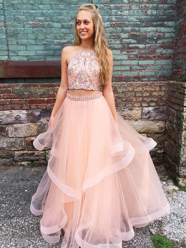 2018 Two Pieces Scoop Long Prom Dress For Teens Blush Beading Evening Dress AMY1266
