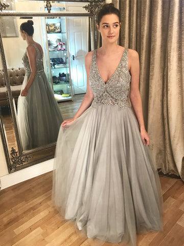 2018 A-line V neck Silver Long Prom Dress Floor Lenth Beading Evening Dresses AMY1267