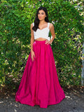 2018 Two Pieces Long Prom Dress White And Fuchsia Simple Cheap Prom Dresses Evening Dresses AMY1270