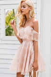 2018 New Arrival Pink Homecoming Dress With Lace Ofgf-the-shoulder Short Prom Dress Cocktail Dresses AMY1271