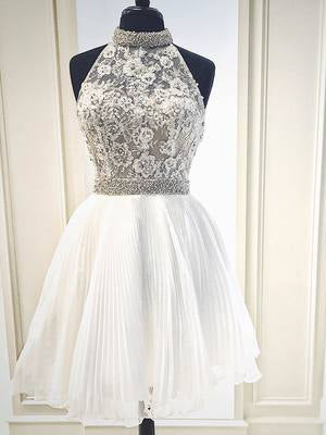 2018 New Arrival White Homecoming Dress With Lace And Beading High Neck Short Prom Dress AMY1272