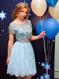 2018 Two Pieces A-line Prom Dresses Short Blue Charming Homecoming Dresses With Lace AMY1273