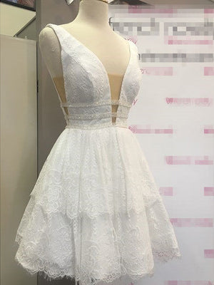 2018 A-line Strapls Short/Mini Homecoming Dress White Lace Short Prom Dress AMY1276