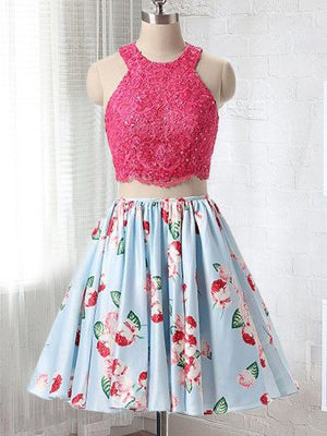 2018 New Arrival Two Pieces Homecoming Dress With Lace Scoop Short Prom Dress AMY1277