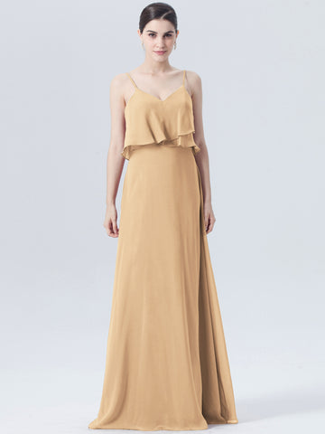 Chic Gold Bridesmaid Dresses Long Spaghetti Straps Cheap Bridesmaid Dress AMY127
