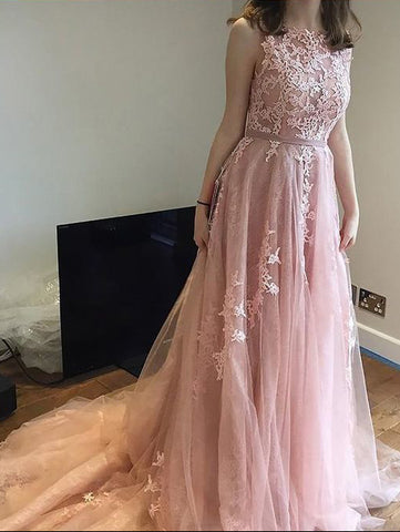 2018 A-line Scoop Long Prom Dress With Applique Tulle Cheap Prom Dresses Evening Dresses AMY1285