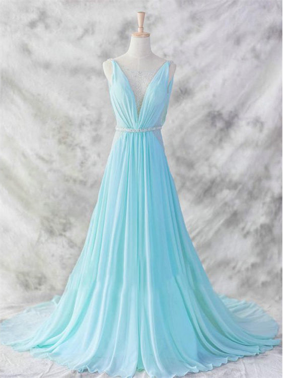 2018 A-line Deep V Simple Chiffon Cheap Long Prom Dresses Evening Dress AMY1287