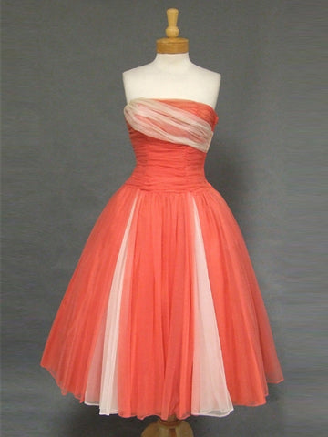 2018 A-line Strapless Tea Length Homecoming Dress Vintage Short Prom Dress AMY1291