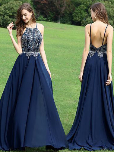 A-line Spaghetti Straps Sleeveless Beading Long Prom Dress Evening Dress|Amyprom