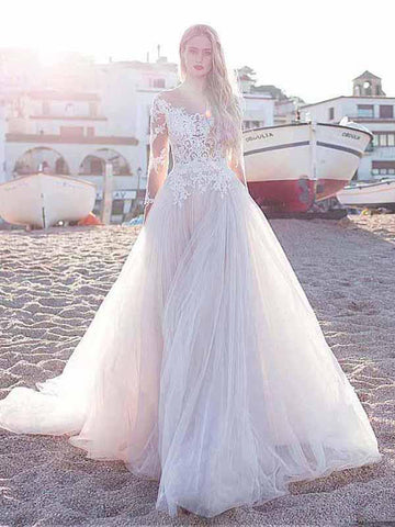 A-line White Beach Wedding Dress Scoop Floor Length Cheap Wedding Dress AMY1297