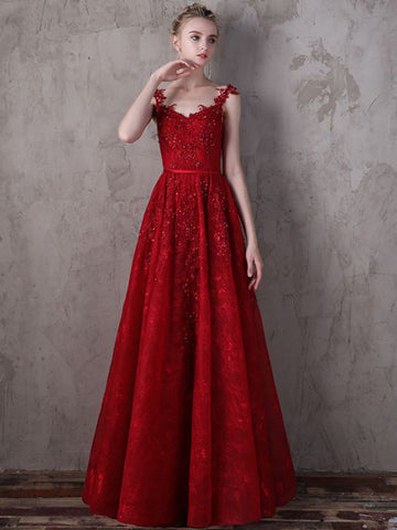 2018 A-line Prom Dresses Red Floor-length Straps Lace Prom Dress Evening Dress AMY129