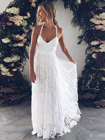 2018 A-line White Lace Wedding Dress Spaghetti Straps Sweep/Brush Train Lace Beach Wedding Dress AMY1303