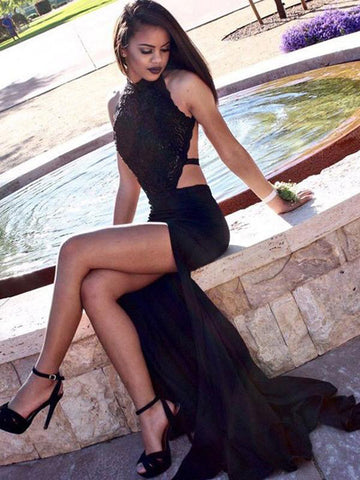 Sheath/Column Sexy Black Lace Prom Dress With Slit Long Prom Dresses Evening Dress AMY1305