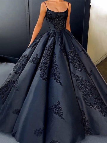 2018 Black Ball Gowns Prom Dress Spaghetti Straps Lace Long Prom Dresses Evening Dress AMY1306