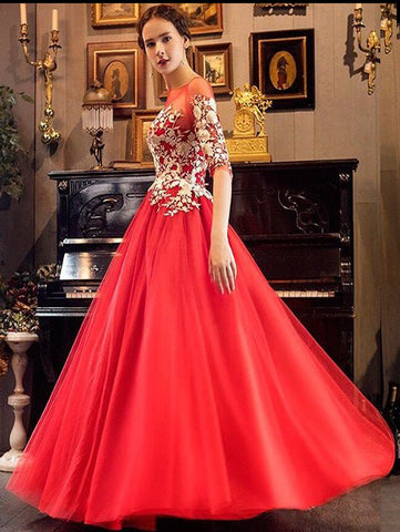 2018 A-line Red Prom Dress Half Sleeve Tulle Long Prom Dresses Evening Dress AMY1307